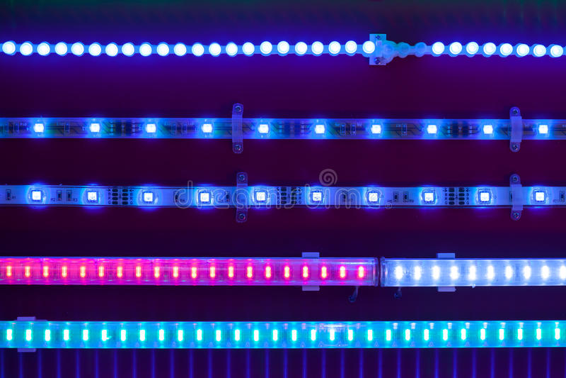 Blue led light tapes stock image