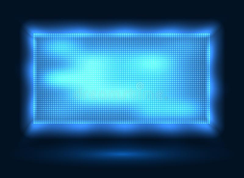 Blue led lights screen. Vector stage display background with blue leds dots technology, light spot board texture with pixelation effect for stadium video vector illustration