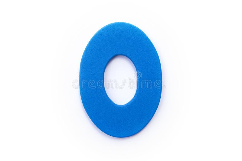 Blue Letter O. Over a white background royalty free stock images