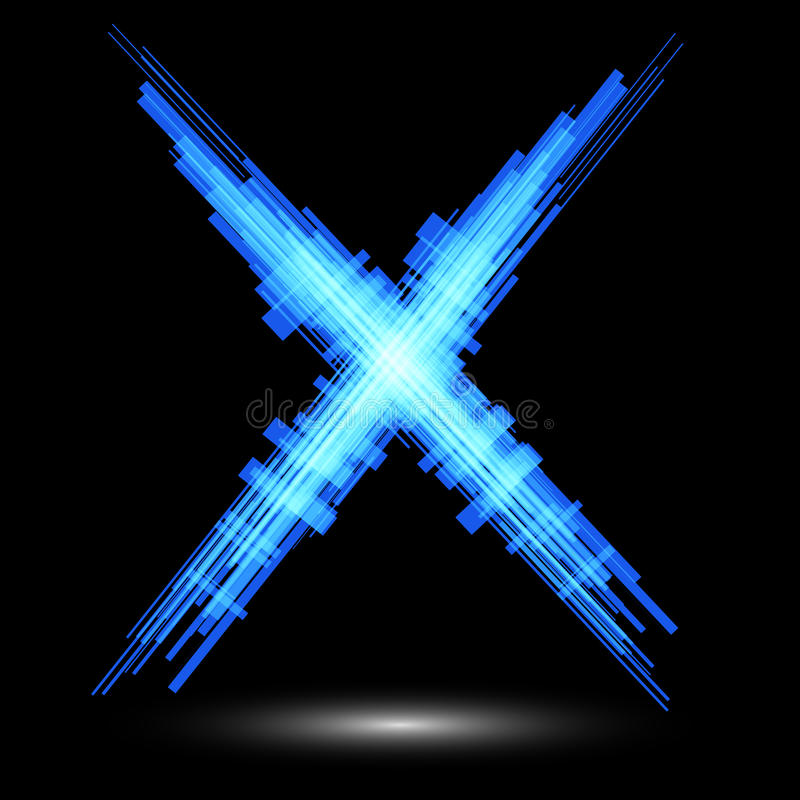 Free Blue Letter X On A Black Background. Raster Royalty Free Stock Image - 44276176