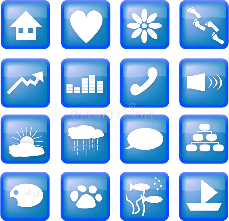 Download Blue lifestyle buttons editorial stock photo. Image of squares - 3436003