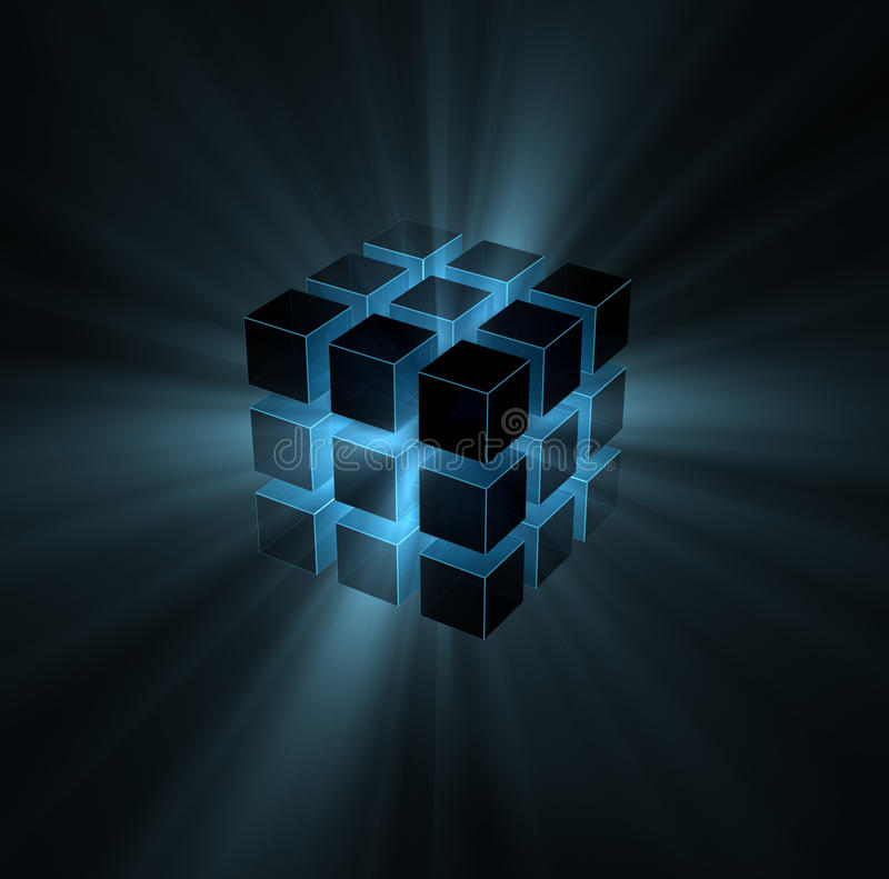 Blue light beams from puzzle cube vector illustration