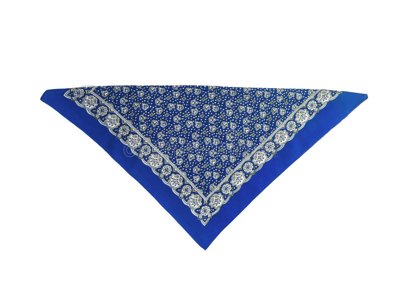 Blue, light blue kerchief-bandana with a pattern, isolated.  royalty free stock photos