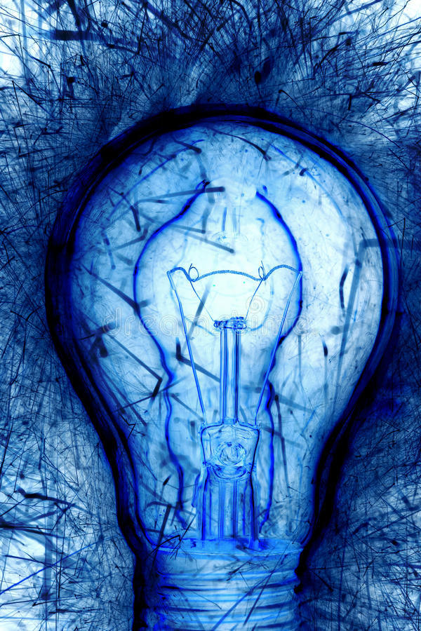 Blue Light Bulb Stock Photography