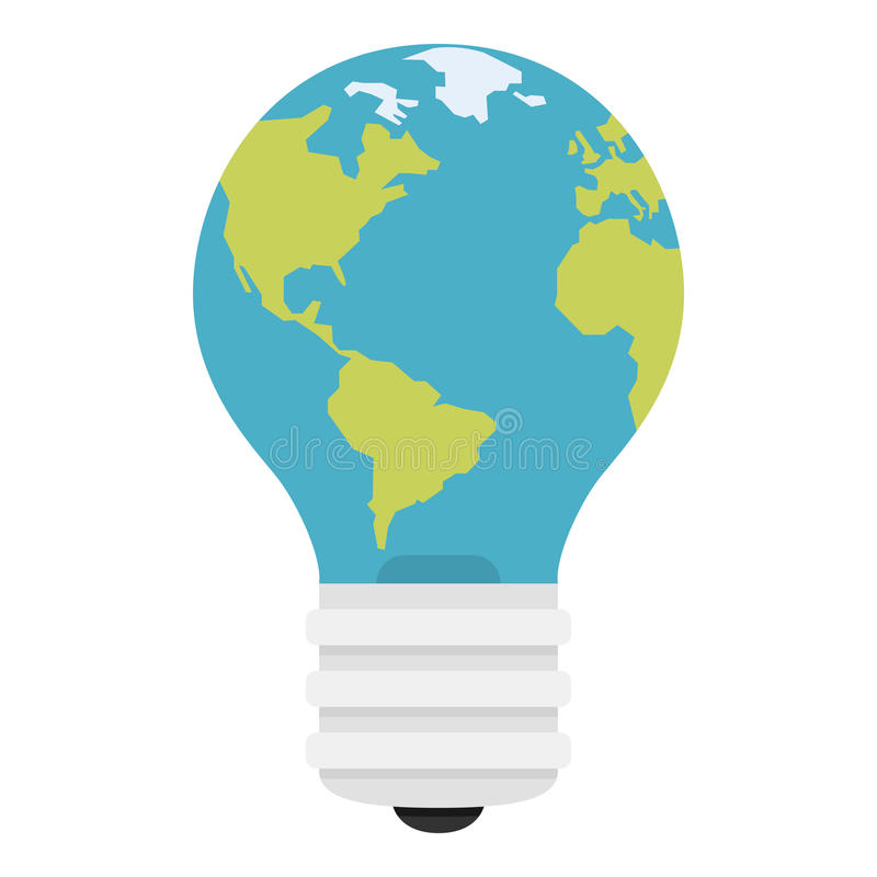 Blue Light Bulb Flat Icon with Planet Earth vector illustration
