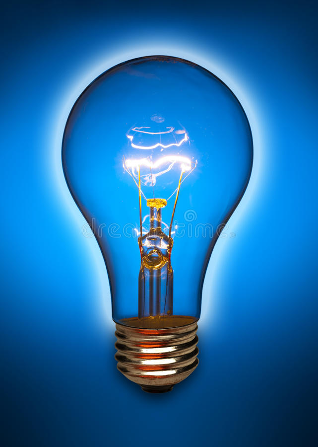 Download Blue Light Bulb With Glow Royalty Free Stock Images - Image: 15323869
