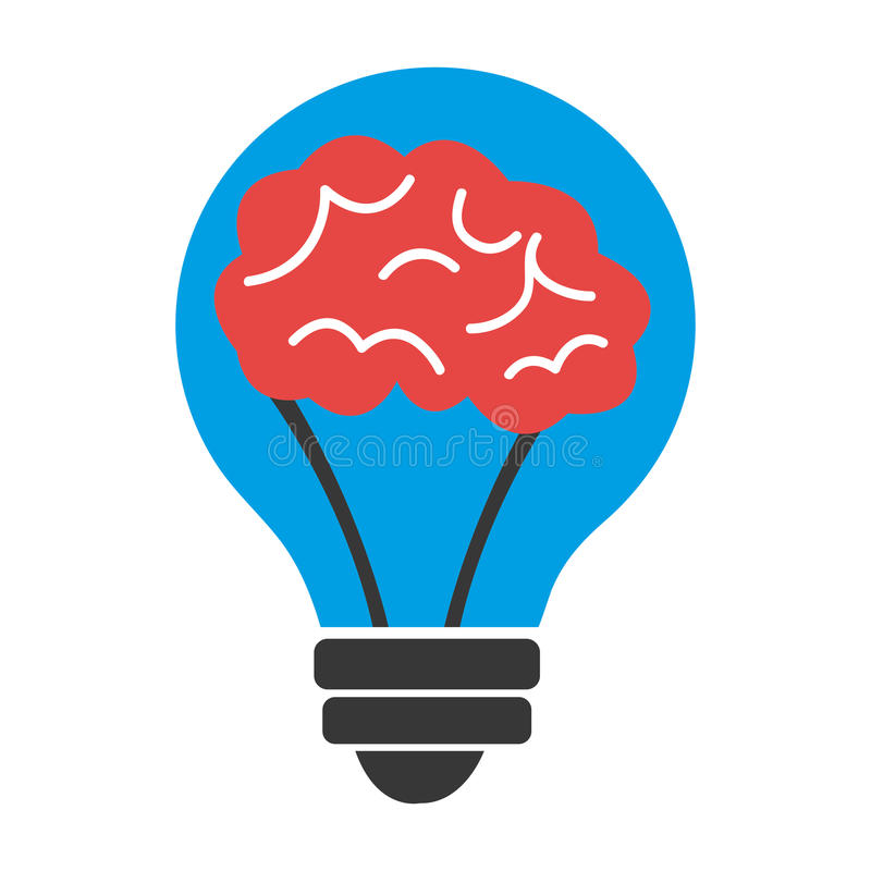 Blue light bulb with red brain, graphic. Blue light bulb with red brain inside over isolated background, illustration royalty free illustration