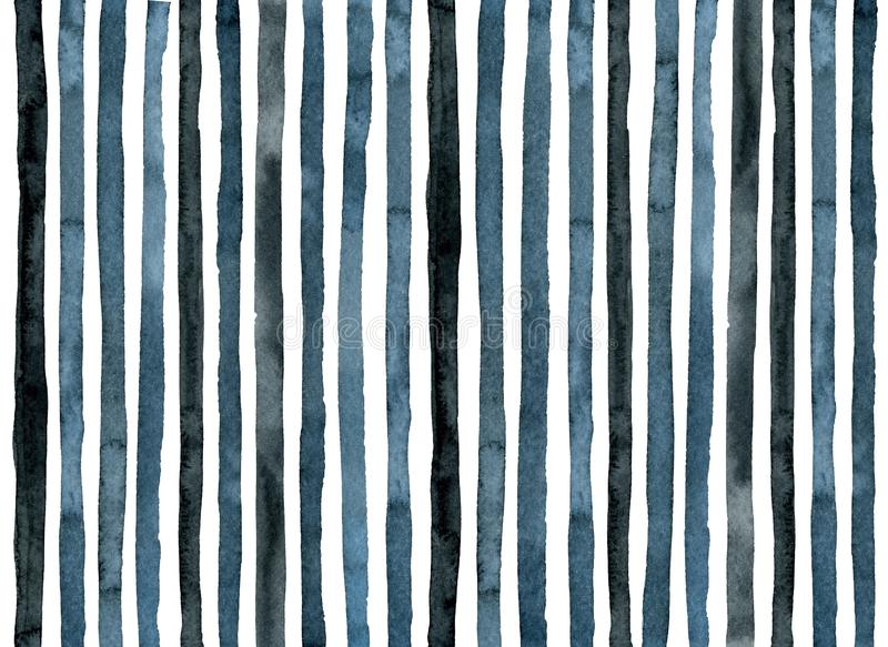 Blue light and dark indigo watercolor stripes. Background stock images