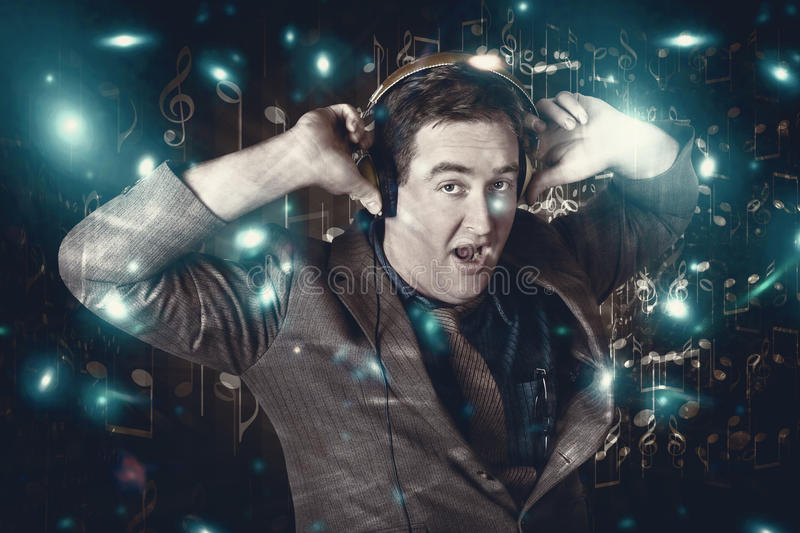 Download Blue Light Disco Man Dancing At Club Dance Party Stock Photo - Image of cool, hearing: 31330836
