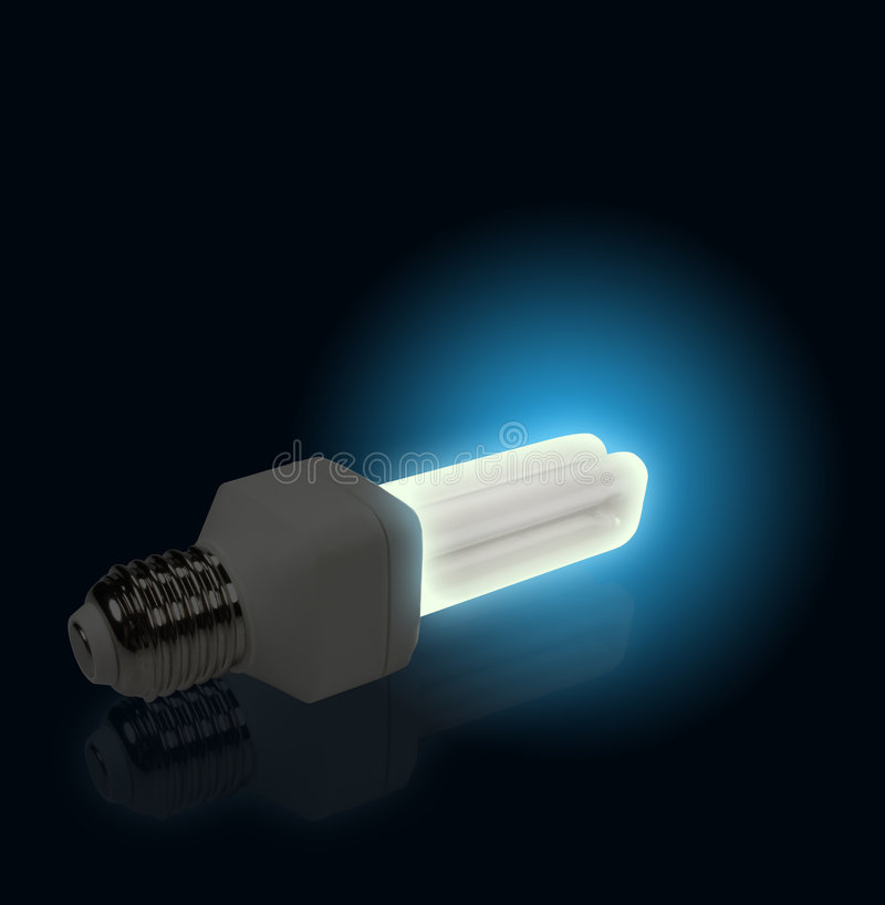 Download Blue Light From Economical Lamp Stock Image - Image: 7297531