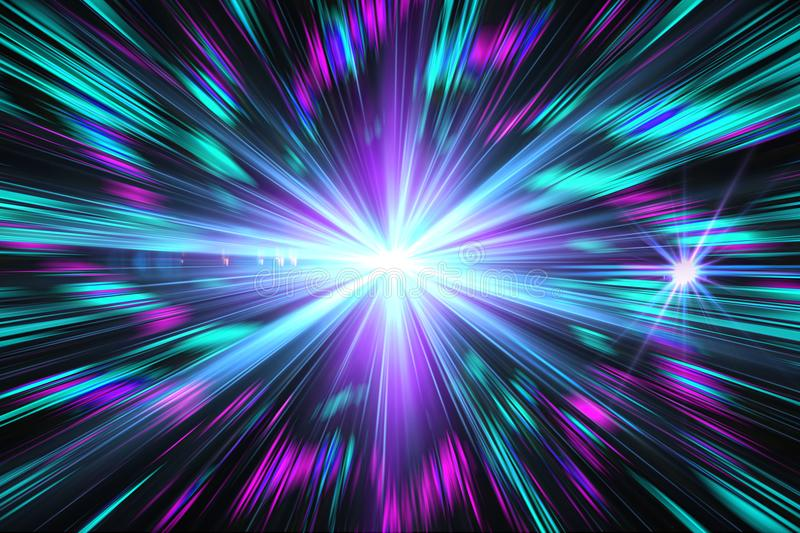 Blue light effect, abstract, star burst, flash, laser beam, glitter, light rays, blue, purple on black background vector illustration