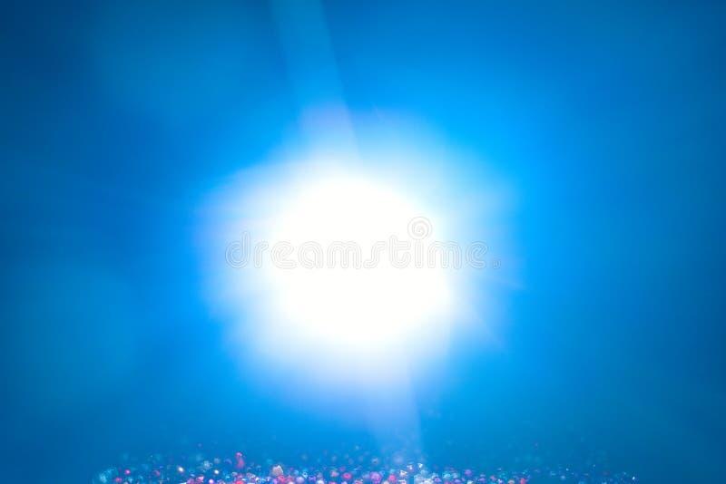 Blue light flare special effect and beads on black background , concert lighting.  vector illustration