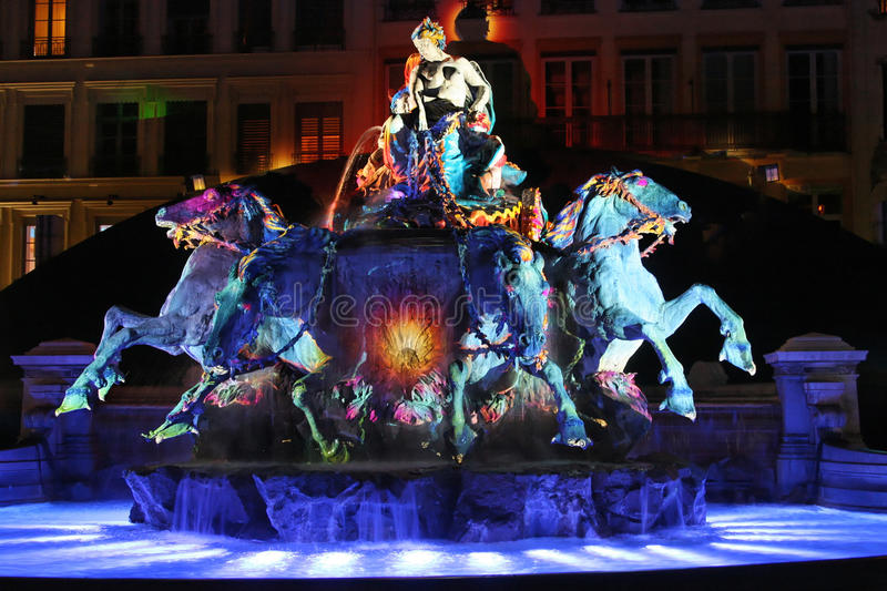 Blue light on Fountain in Place des Terreaux