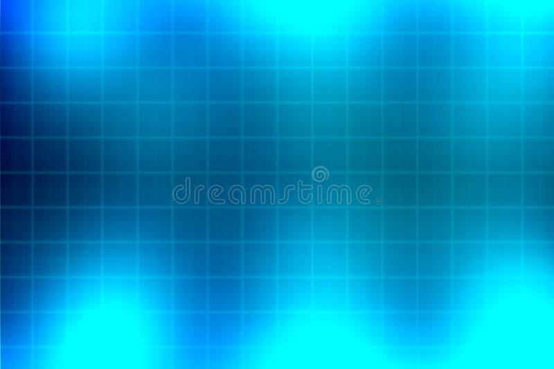 Blue light and grid background stock illustration
