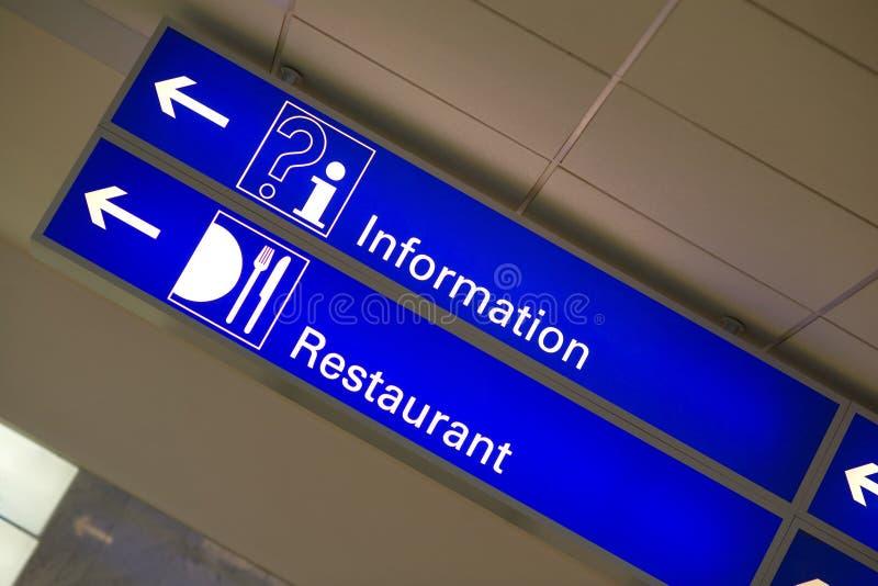 Blue light information sign stock photo