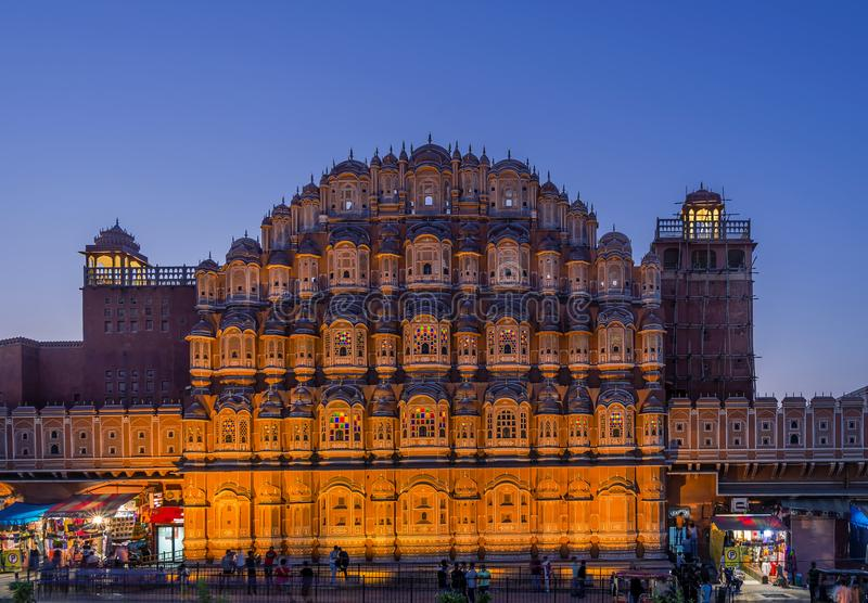 Blue light over Hawa Mahal, Palace of Winds, Jaipur, India. Hawa Mahal, Palace of Winds, Jaipur, India in the blue evening light stock photos