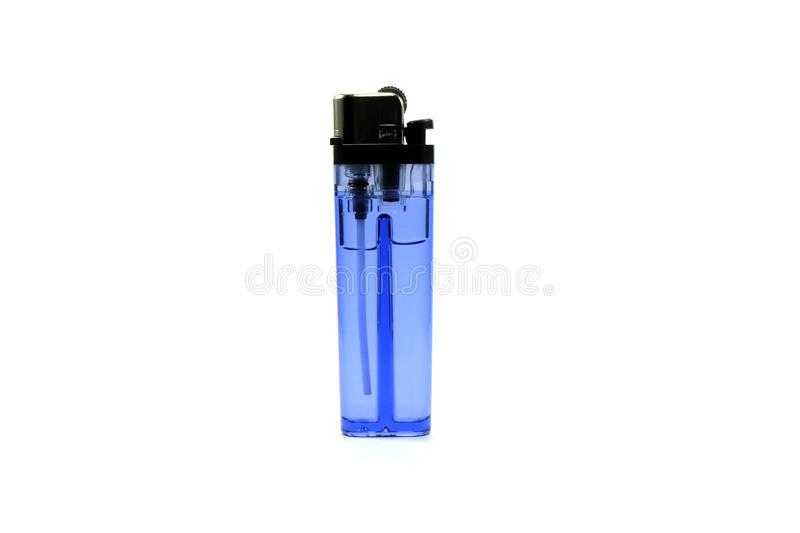 Blue lighter in white background isolate stock images