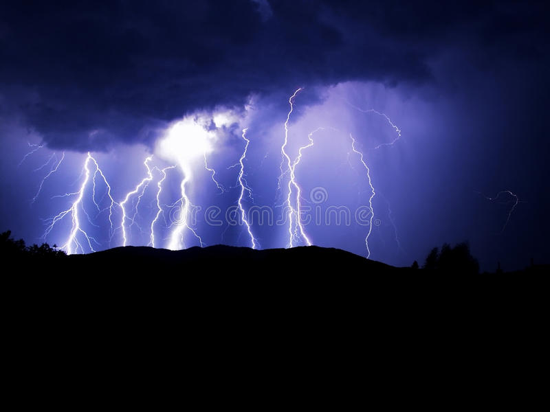 Blue lightning royalty free stock image