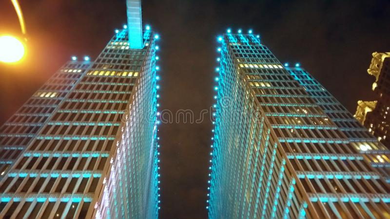 Blue Lights Above. Downtown Skyscrapper in Atlanta royalty free stock images