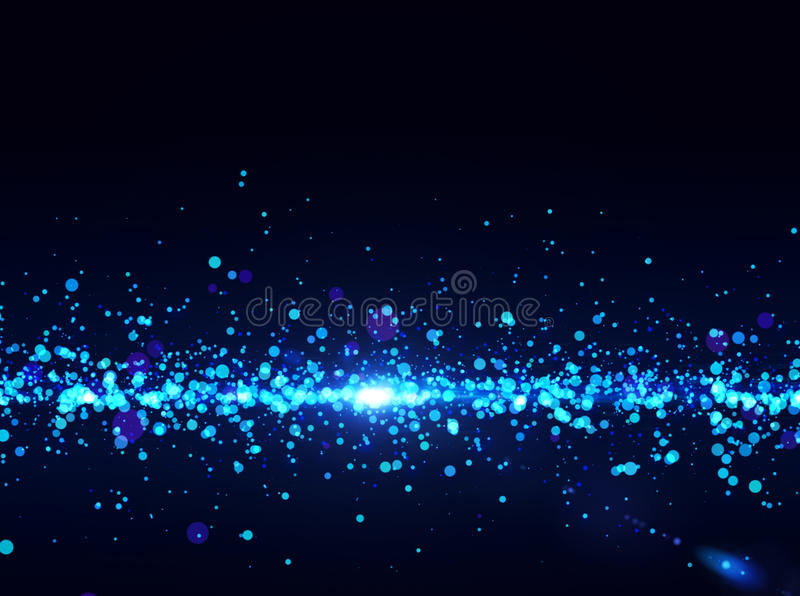Blue lights - abstract particles flow. Horisontal background vector illustration