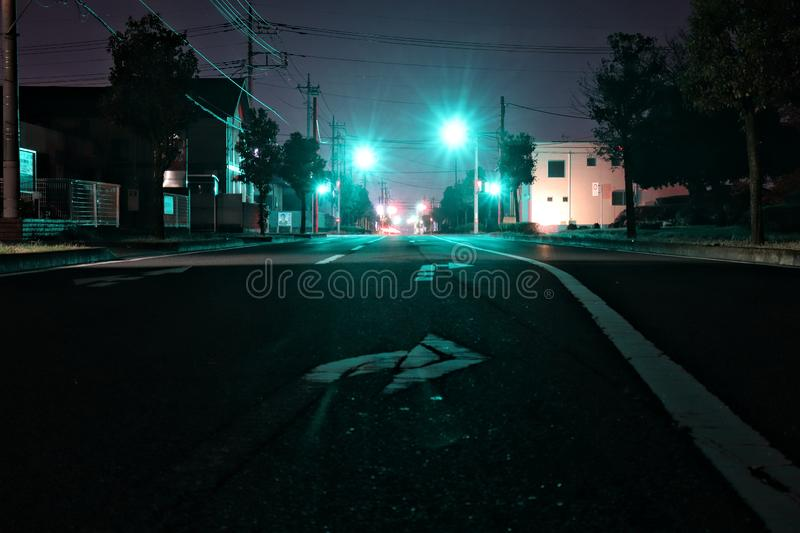 Blue Light in Night street in Isesaki city-Japan. The blue lights convey the calm and peace in the silence of the night royalty free stock images