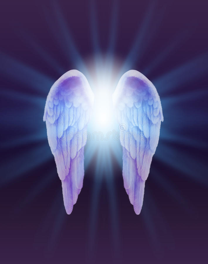 Blue and Lilac Angel Wings on a dark background. A pair of finely feathered Angel Wings with a bright white light bursting between radiating outwards subtle blue vector illustration