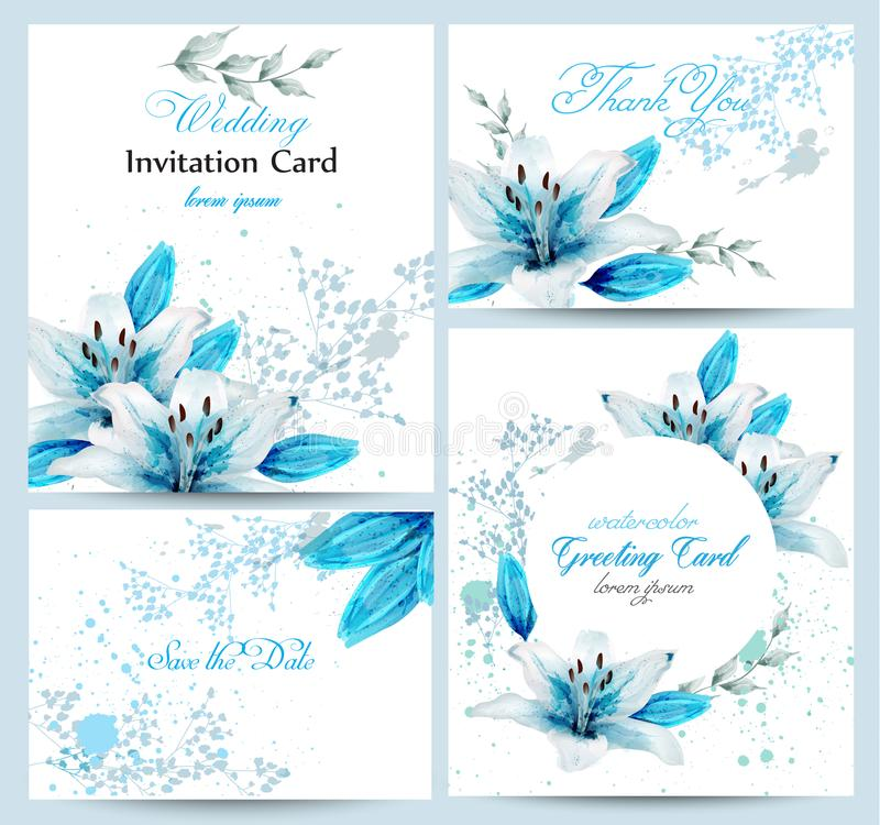 Blue lily Watercolor flower blossom card set Vector. Vintage greeting poster, wedding invitation, thank you postcard. Summer flora royalty free illustration