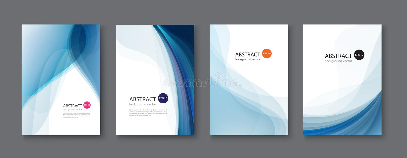Blue line abstract set background. Vector illustration. stock illustration