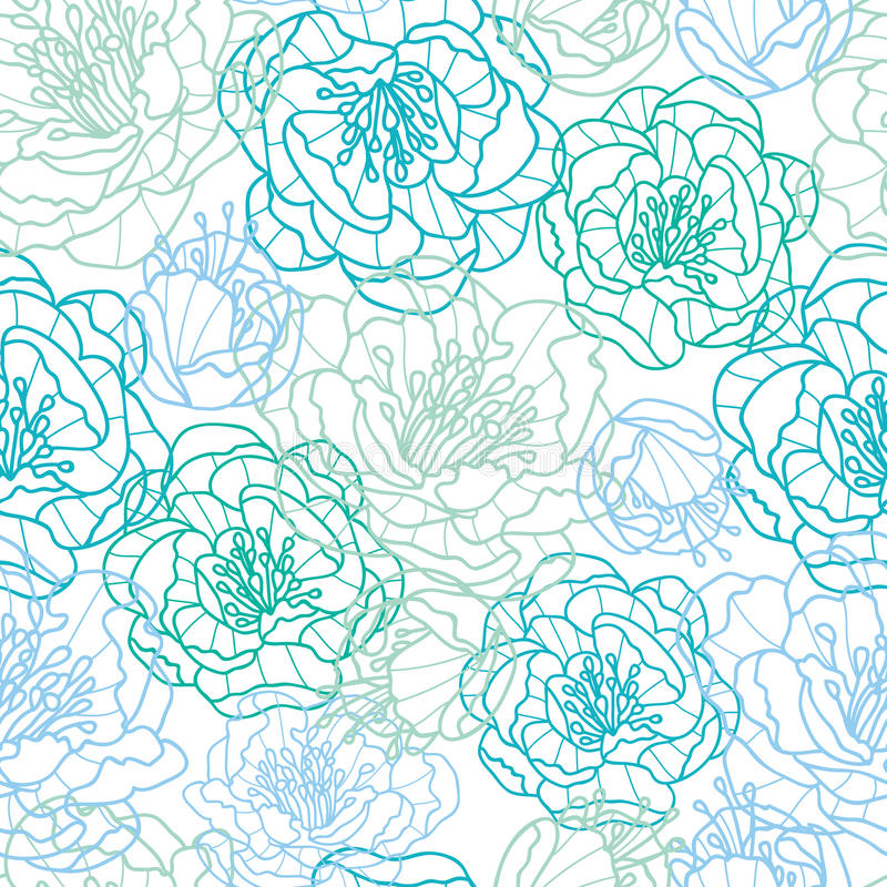 Line Art Flower Pattern : Blue line art flowers seamless pattern background stock