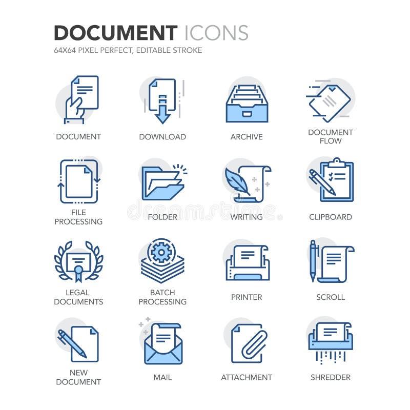 Blue Line dokumentsymboler stock illustrationer