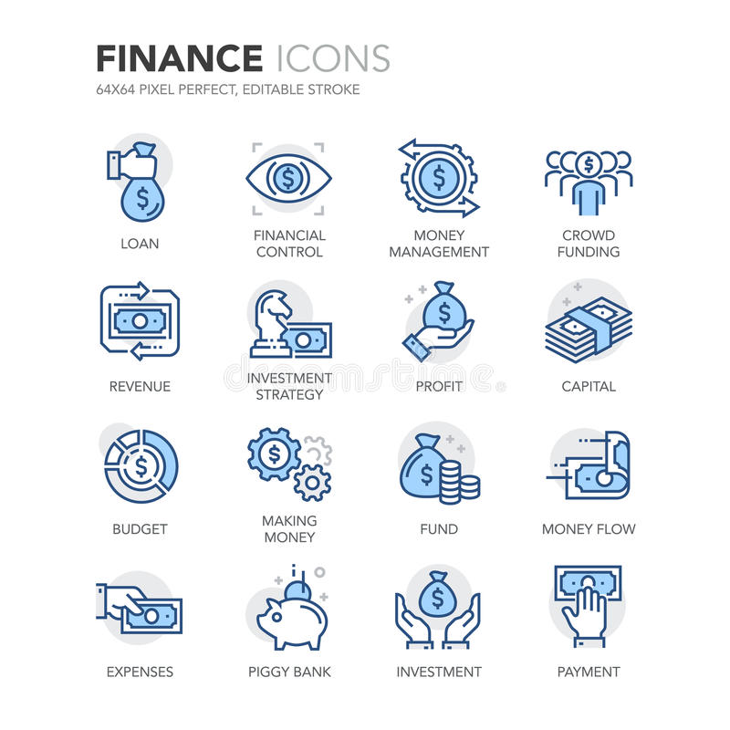 Free Blue Line Finance Icons Stock Photography - 70742122