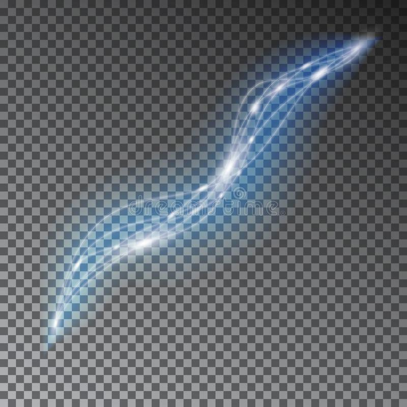 Blue line light effect. Abstract background with blurred magic neon light curved lines. Wave line l vector illustration