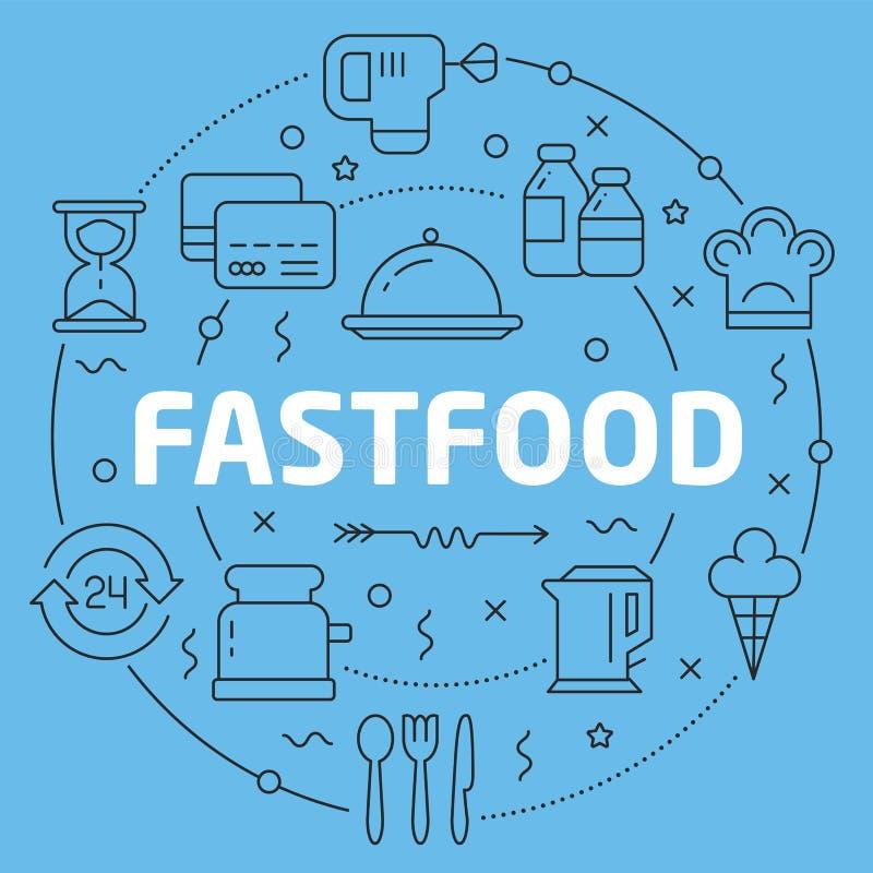 Blue Line okręgu ilustraci Płaski fastfood ilustracja wektor
