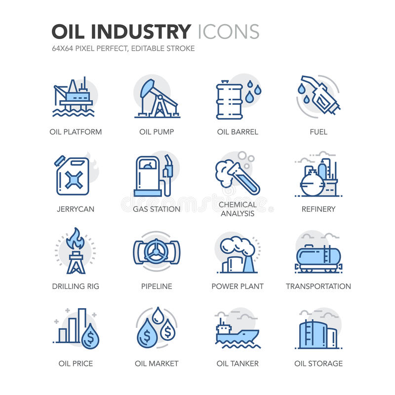 Blue Line oljeindustrisymboler royaltyfri illustrationer