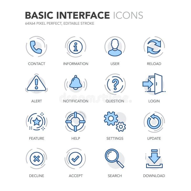 Blue Line Podstawowego interfejsu ikony royalty ilustracja