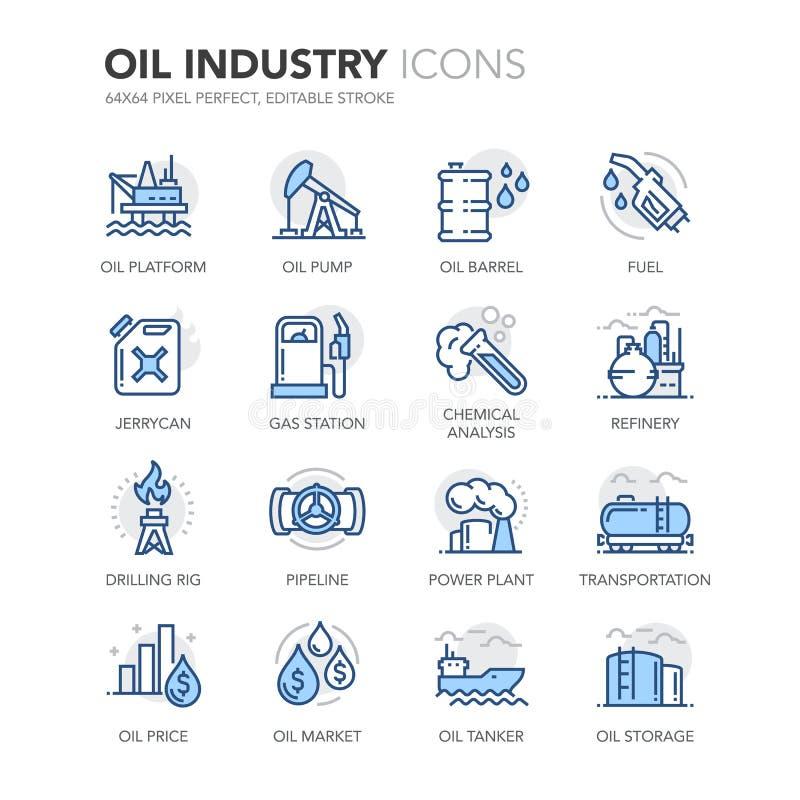 Blue Line przemysłu paliwowego ikony royalty ilustracja