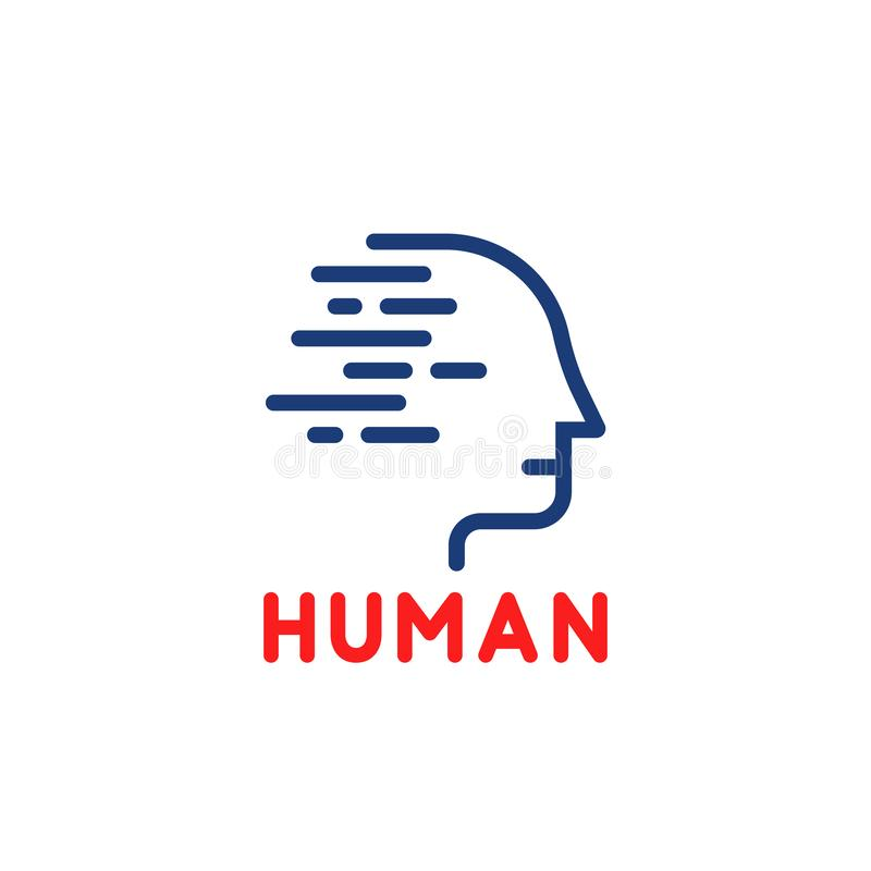 Blue linear human logo isolated on white stock illustration