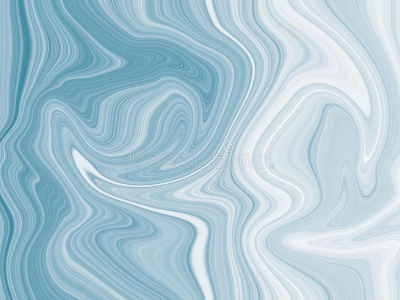 Blue liquid abstract stripes freely-flowing shapes with curvy swirl waves background stock illustration