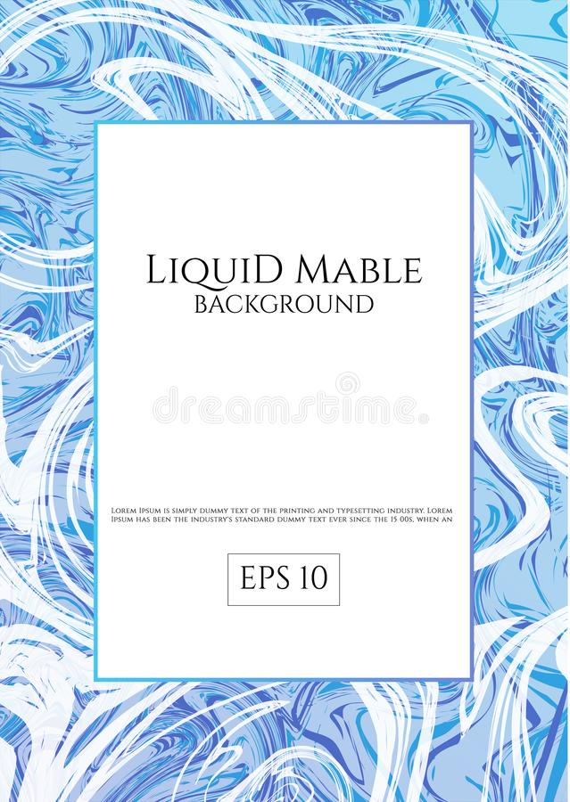 Blue liquid mable background art luxury white swirl flow style with space for your your text. Vector illustration stock illustration