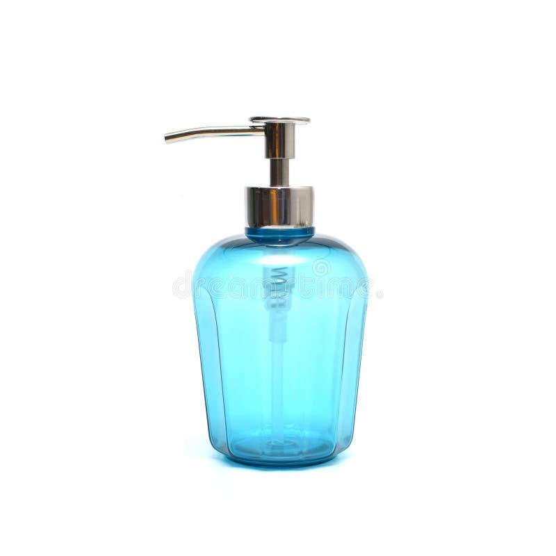 Blue liquid soap in plastic pump bottle stock images