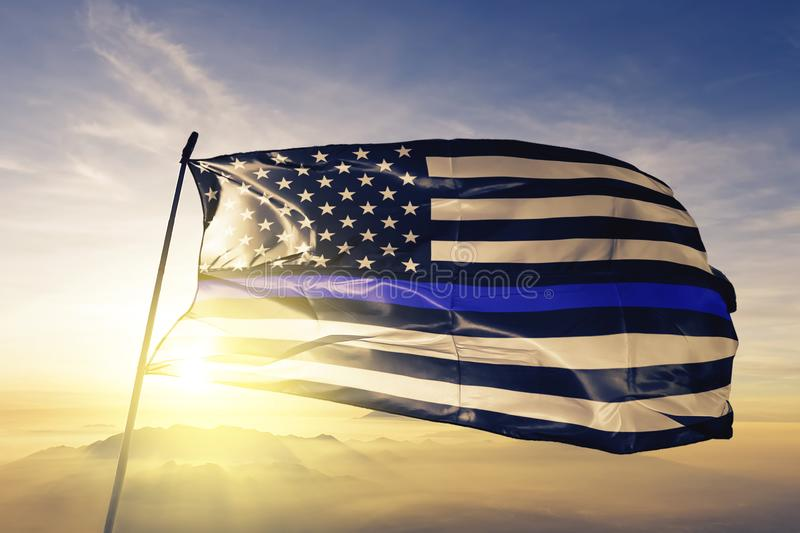 Blue Lives Matter american stars flag textile cloth fabric waving on the top sunrise mist fog royalty free illustration
