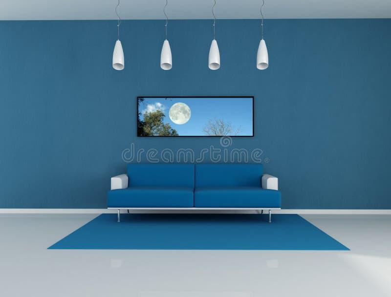Blue living room stock illustration