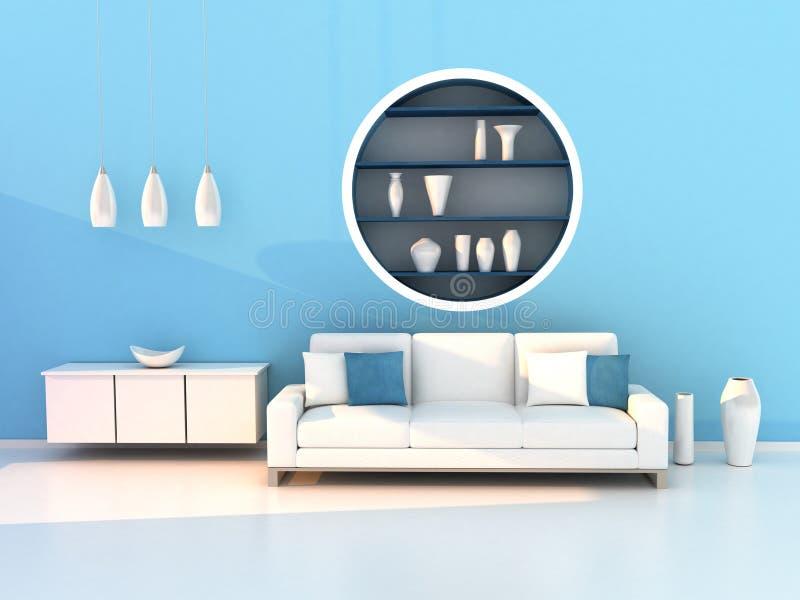 Blue living room, modern room royalty free illustration