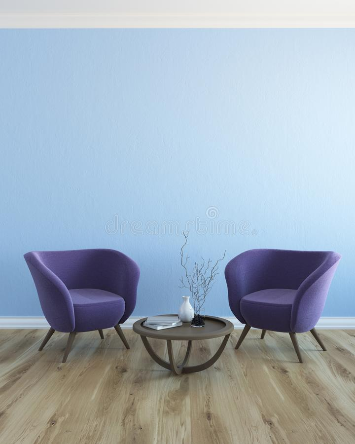 Blue And Purple Living Room Stock Illustration ...