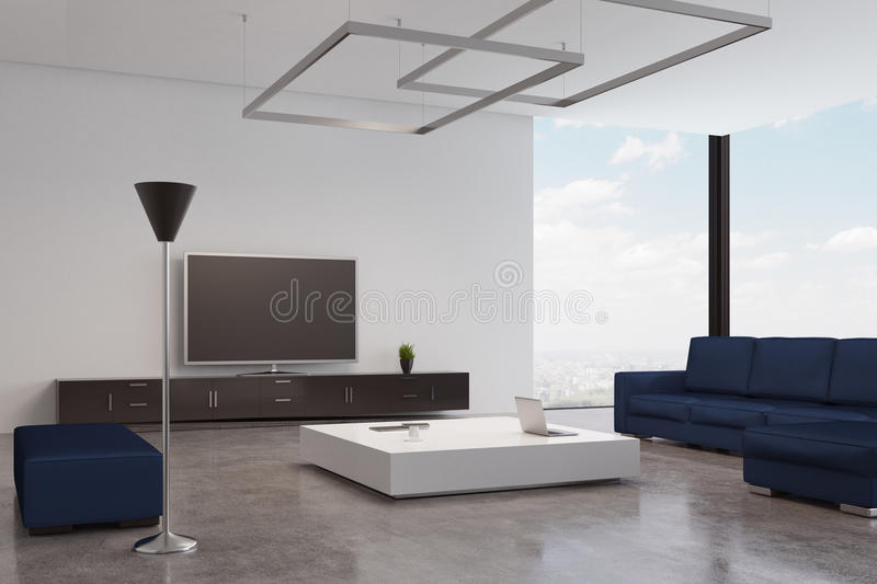 Blue living room with tv. Living room interior with a blue sofa and an armchair standing near a white coffee table. There is a tv set near a wooden wall. 3d royalty free illustration