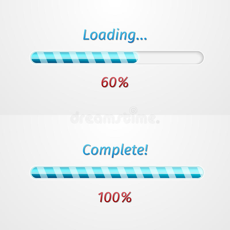 Blue loading bars royalty free illustration