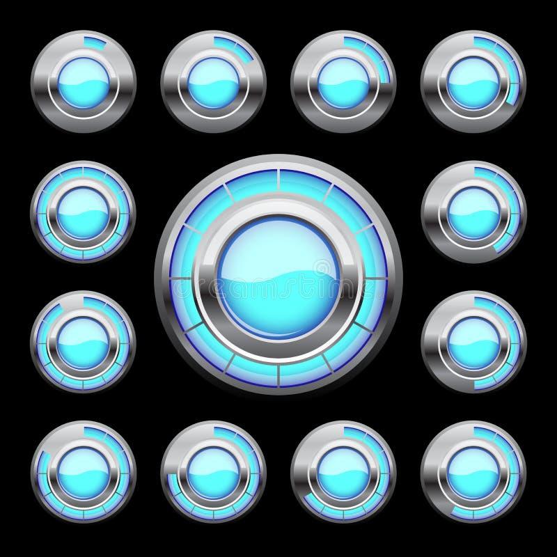 Blue loading button stock illustration