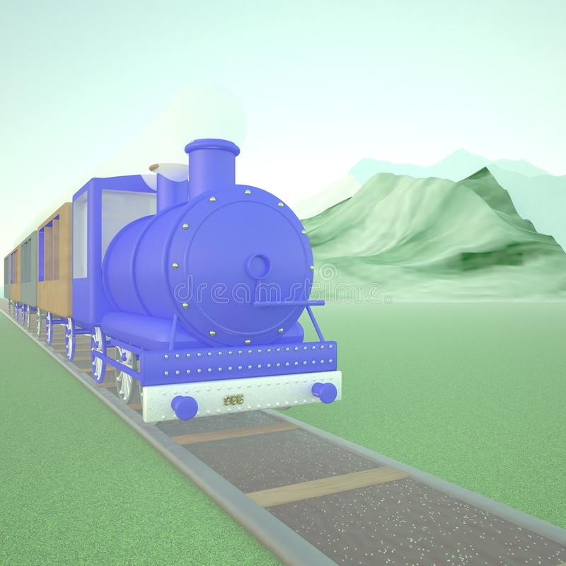 Blue locomotive of steam train stock illustration