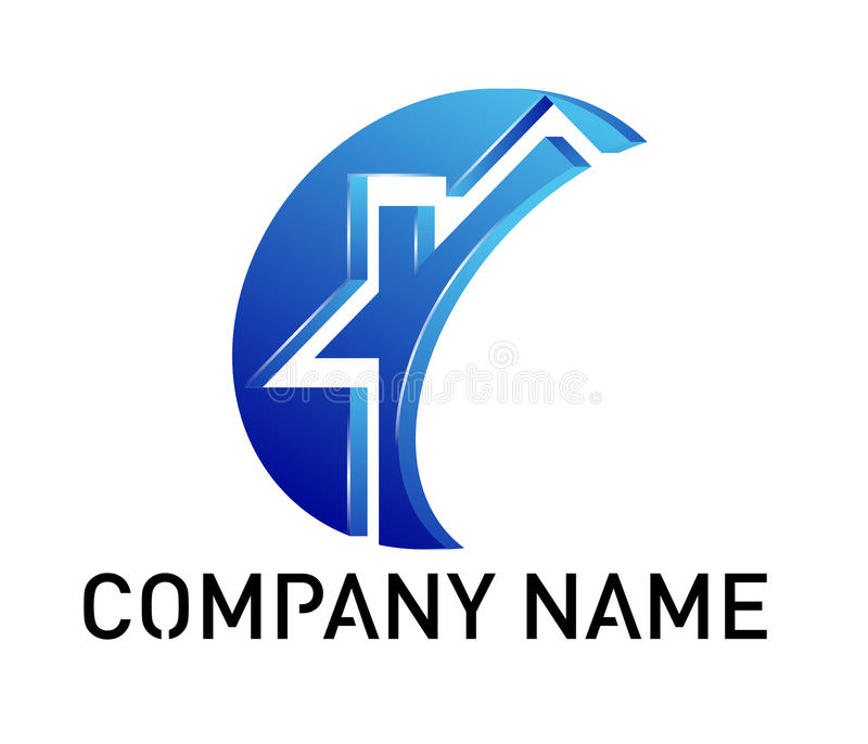 Dreams Construction Company: Blue House Logo Royalty Free Stock Images