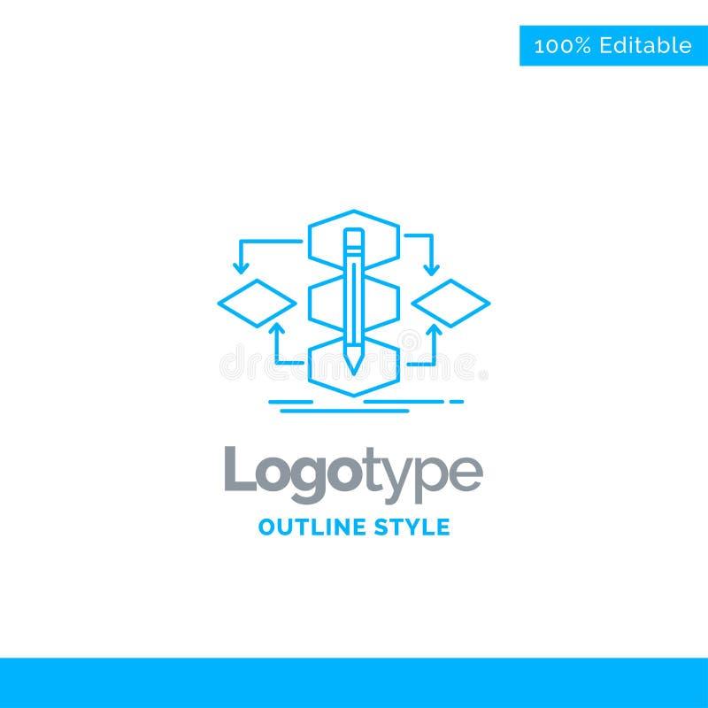 Blue Logo design for Algorithm, design, method, model, process. Business Concept Brand Name Design and Place for Tagline. Creative Company Logo Template. Blue vector illustration